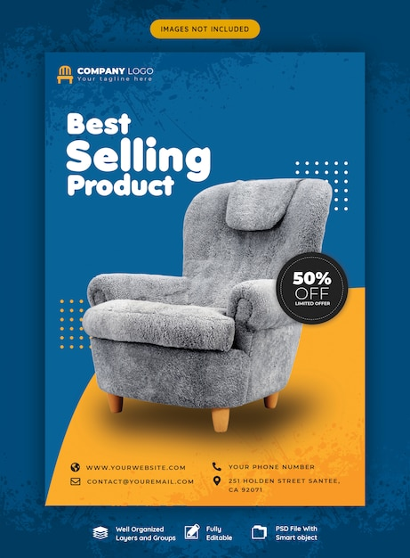 Modello di volantino di vendita di mobili Psd Premium