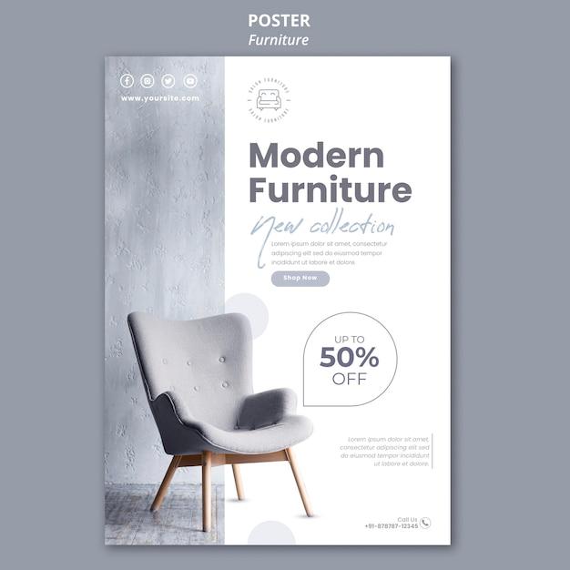 Modello di poster del negozio di mobili Psd Premium