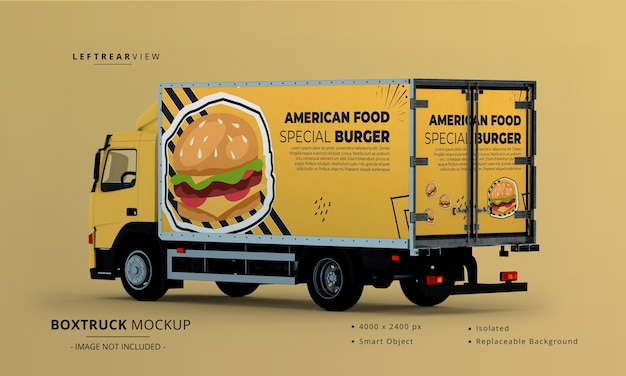 Vista posteriore sinistra del mockup dell'automobile del camion della scatola grande generica Psd Premium