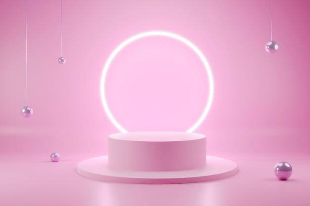 Scena interna 3d podio minimalista di forma geometrica con colore modificabile Psd Premium