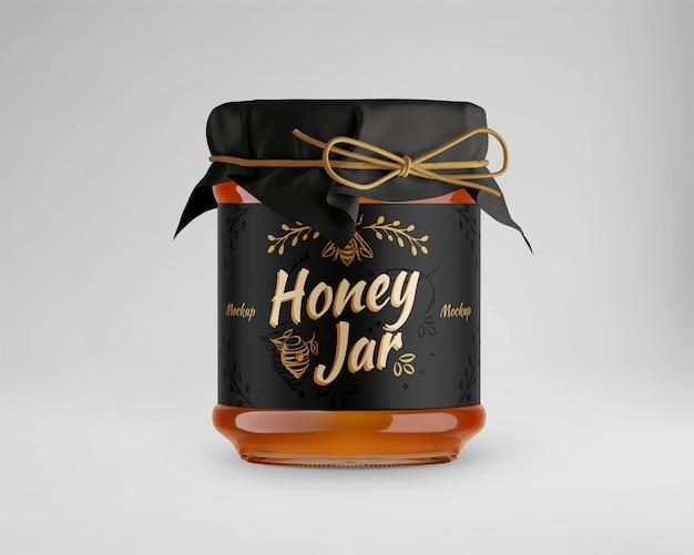 Mockup di vetro vaso di miele con tappo di carta Psd Premium