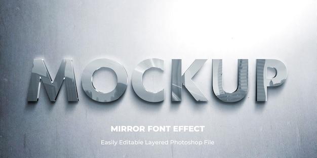 Modello di effetto testo 3d specchio di vetro Psd Premium