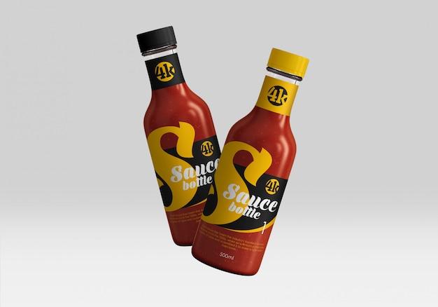 Mockup di vetro bottiglie di salsa di pomodoro Psd Premium
