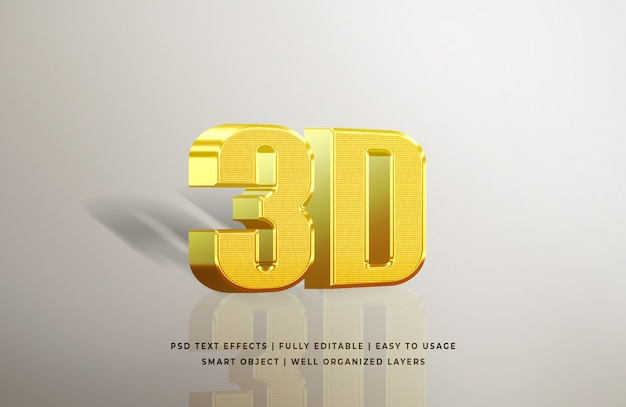 Effetto di testo in oro 3d Psd Premium