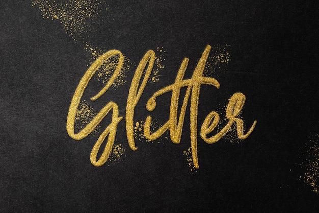 Modello di effetto testo glitter oro Psd Premium