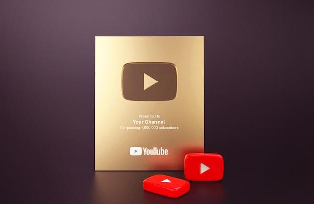 Mockup di youtube pulsante di riproduzione d'oro Psd Premium