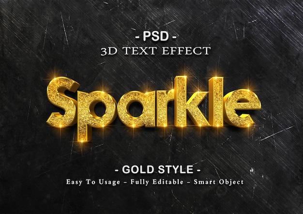 Modello di effetto testo scintillante d'oro Psd Premium