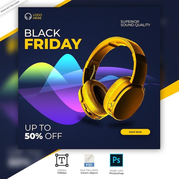 Banner di instagram di social media di prodotto di marca di cuffie di colore dorato Psd Premium