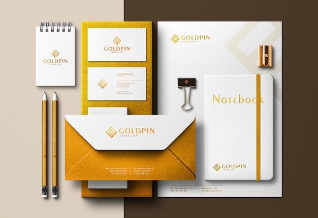 Identità aziendale dorata creatore di scene e modelli con effetto di stampa pressata Psd Premium