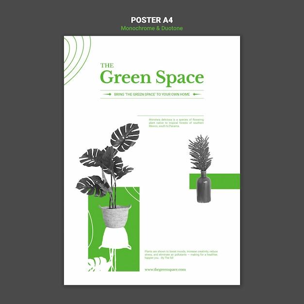 Modello di poster di spazio verde Psd Premium