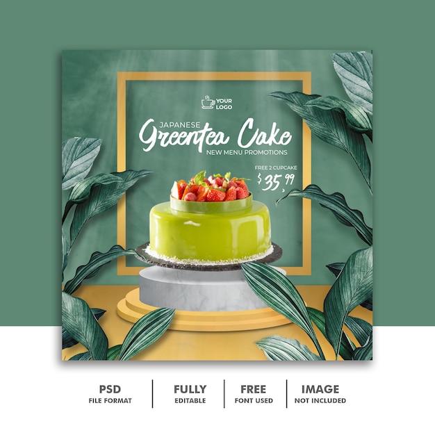Greentea cake menu tropical social media instagram post banner template Psd Premium