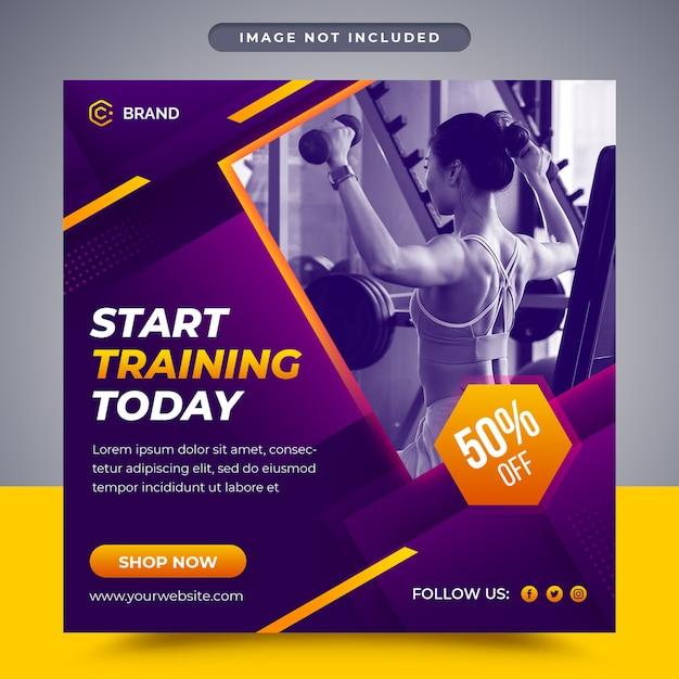 Palestra e fitness post promozionali social media e modello di banner web Psd Premium