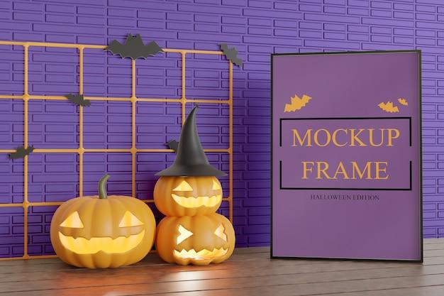 Mockup di cornice edizione halloween sul tavolo Psd Premium