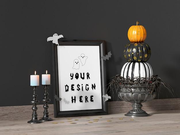 Mockup di cornice decorazione evento di halloween con zucche colorate e candele bianche Psd Premium