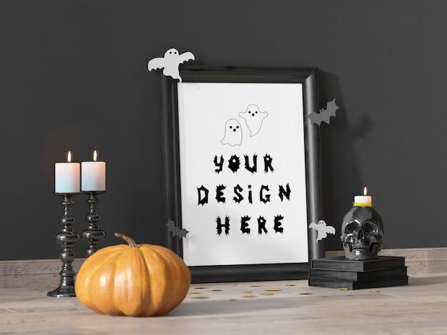 Mockup di cornice decorazione evento di halloween con zucca e teschio Psd Premium