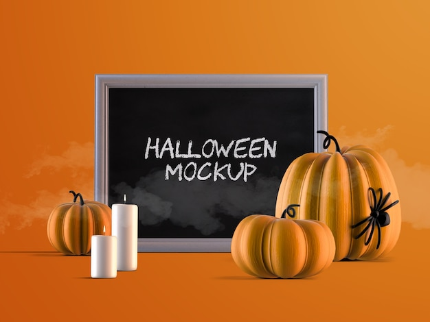 Mockup di decorazione di eventi di halloween con cornice orizzontale, zucche e candele Psd Premium