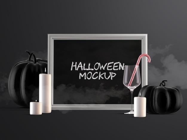 Mockup di decorazione di eventi di halloween con cornice orizzontale, zucche, caramelle e candele Psd Premium