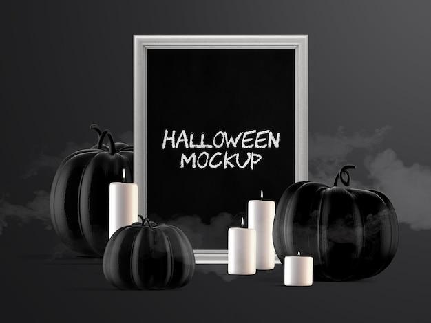 Mockup di decorazione per eventi di halloween con cornice verticale, zucche e candele Psd Premium