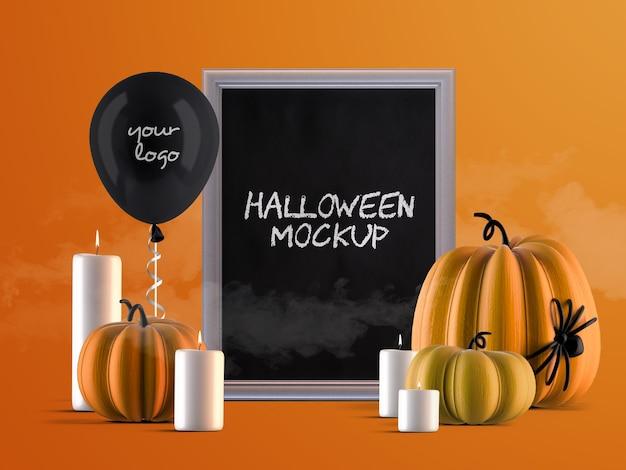 Mockup di decorazione per eventi di halloween con cornice verticale, zucche, palloncino di elio e candele Psd Premium