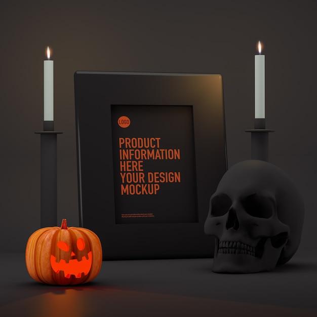 Mockup di foto cornice di halloween accanto a zucche, candele e teschio Psd Premium