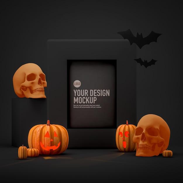 Mockup di foto con cornice di halloween accanto a zucche, teschi e pipistrelli Psd Premium
