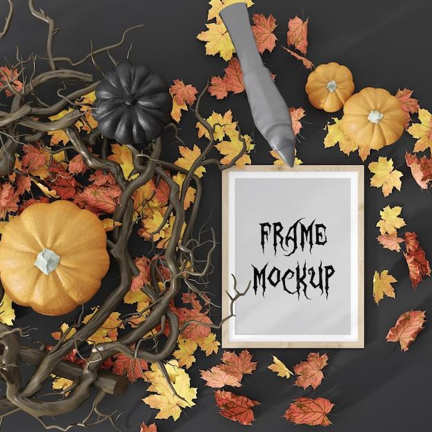 Cornice per foto di festa di halloween circondata da zucche e foglie mockup di rendering 3d Psd Premium