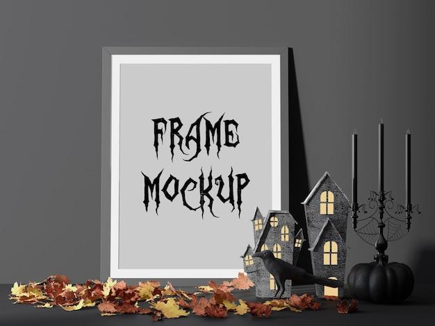 Mockup di cornice per foto di festa di halloween accanto a casa dell'orrore Psd Premium