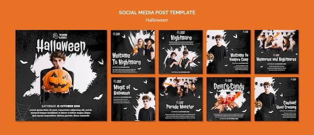Post sui social media della festa di halloween Psd Premium