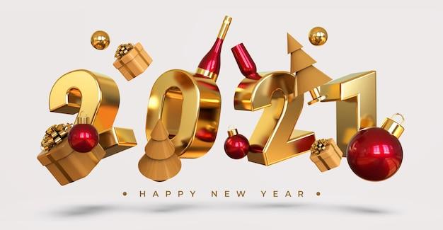 Felice anno nuovo 2021 con rendering di oggetti 3d Psd Premium