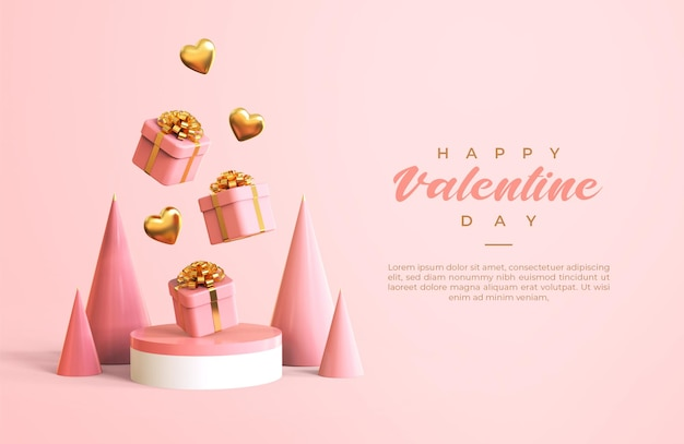 Felice giorno di san valentino banner con rendering di oggetti 3d Psd Premium
