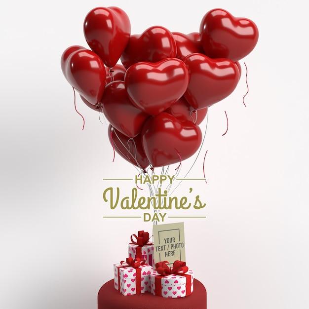 Buon san valentino con biglietto di auguri, confezione regalo e mockup di palloncini Psd Premium