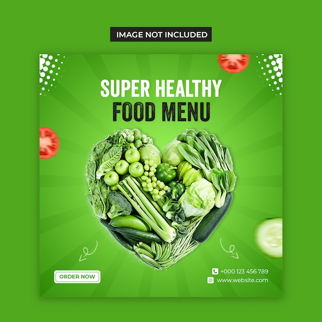 Social media di cibo vegetale sano e modello di post di instagram Psd Premium