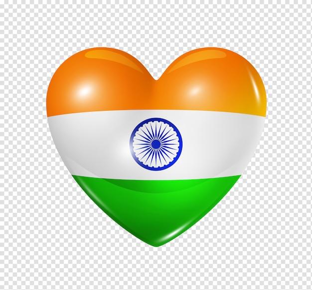 Cuore con bandiera india Psd Premium
