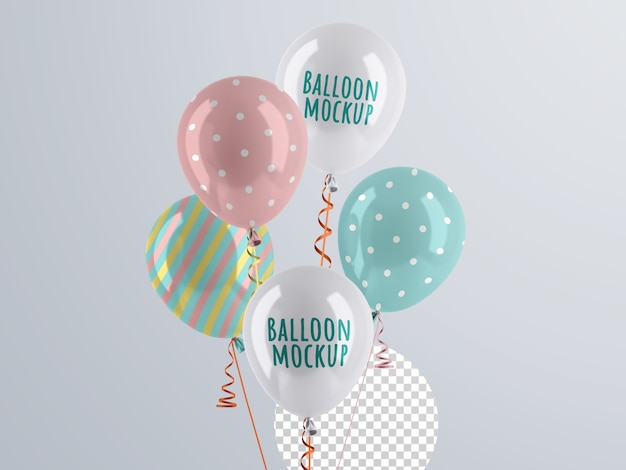 Mockup di mazzo di palloncini di elio Psd Premium