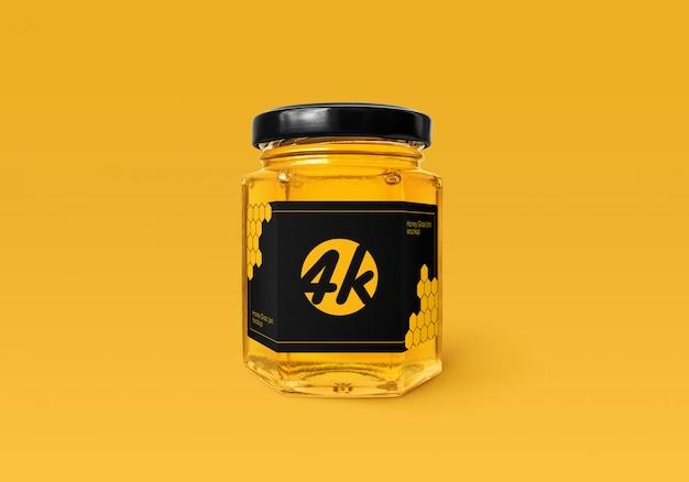 Honey glass jar mockup Psd Premium