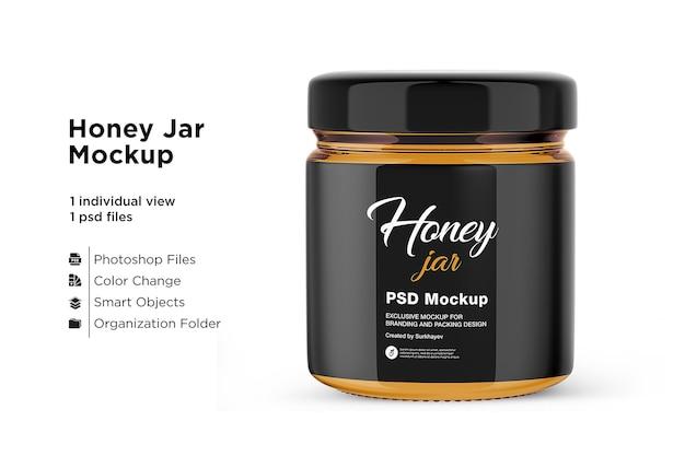 Mockup di barattolo di miele isolato Psd Premium