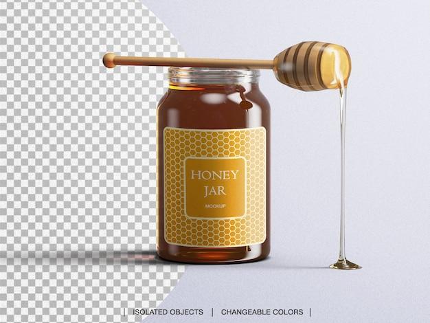 Mockup di bottiglia di vetro di imballaggio vaso di miele con cucchiaio di miele isolato Psd Premium