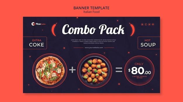 Modello di banner orizzontale per ristorante di cucina italiana Psd Premium