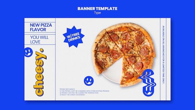 Modello di banner orizzontale per un nuovo sapore di pizza di formaggio Psd Premium