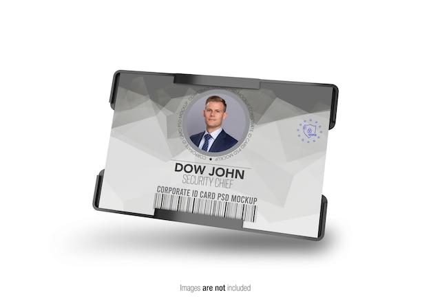 Mockup porta carte d'identità aziendale orizzontale Psd Premium
