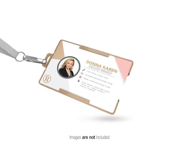 Carta d'identità aziendale orizzontale con striscia vista prospettica mockup Psd Premium
