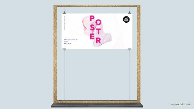 Esposizione di poster orizzontale con cornice in legno Psd Premium