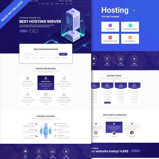 Interfaccia utente web di hosting Psd Premium
