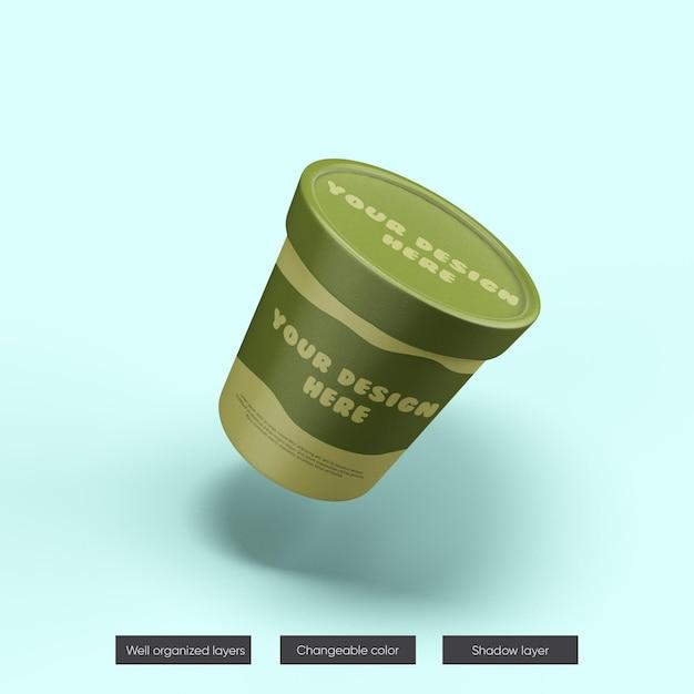 Mockup del barattolo di gelato nella rappresentazione 3d Psd Premium