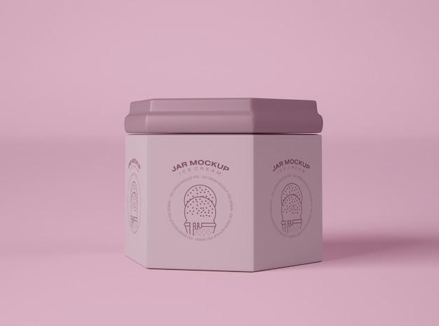 Mockup di imballaggio del barattolo di gelato Psd Premium