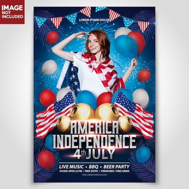 Giornata dell'indipendenza america usa template flyer Psd Premium
