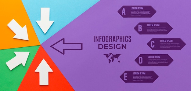Modello di infografica con diverse frecce dirette Psd Premium