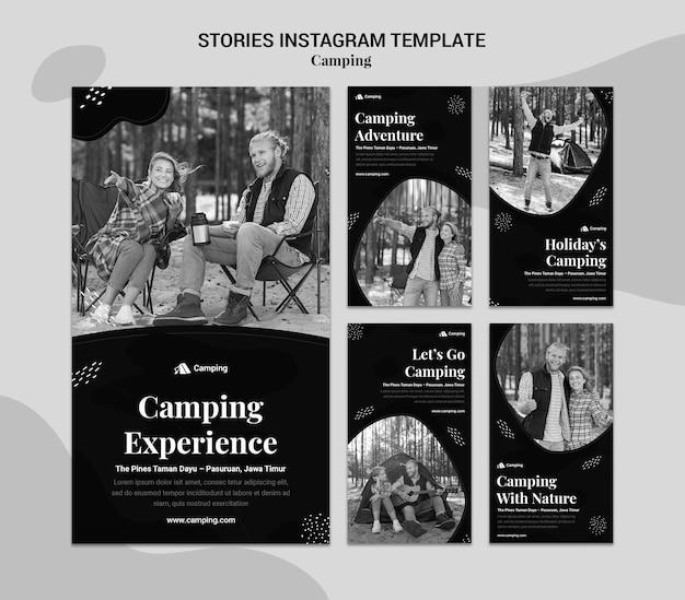 Raccolta di storie monocromatiche di instagram per il campeggio con le coppie Psd Premium