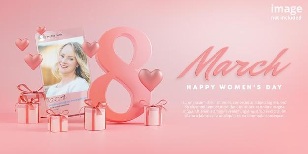Instagram post mockup 8 marzo happy women's day love heart glass Psd Premium