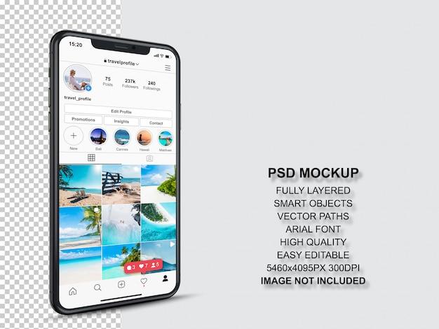 Modello di post di instagram per profili e feed di storie su smartphone. vista prospettica modello di cellulare Psd Premium
